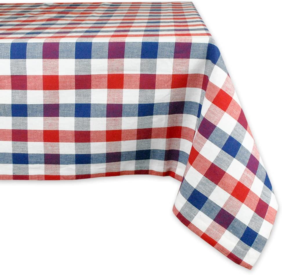 Red Tartan Cotton Sateen Circle Tablecloth by Spoonflower Red White And Blue Plaid Rev by eclectic/_house Blue Plaid Round Tablecloth