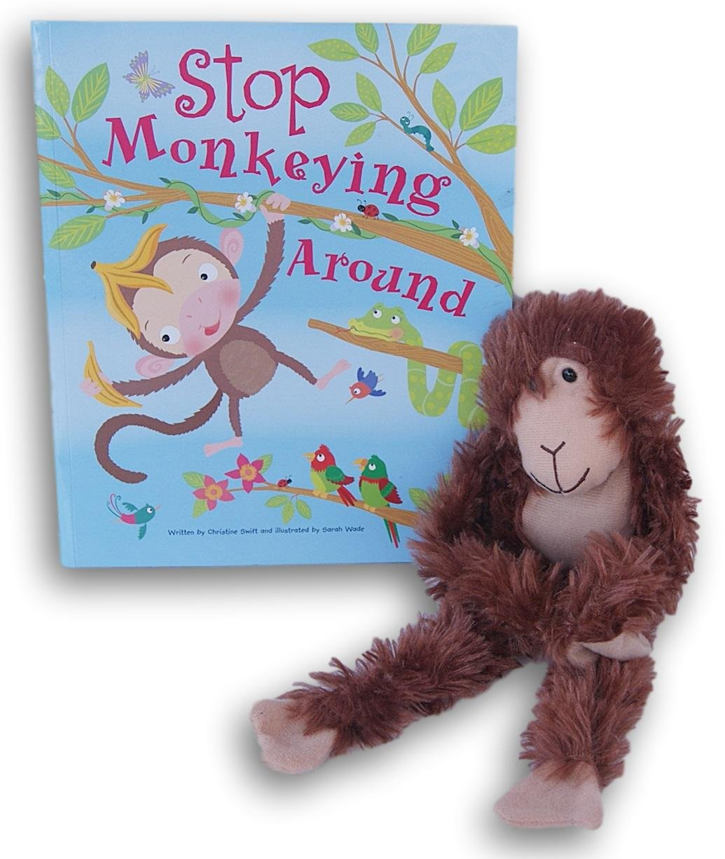 Jumpingデイジーの子のMonkey Plush Toy with Matching停止Monkeying Around Book   B07D9RDK9S