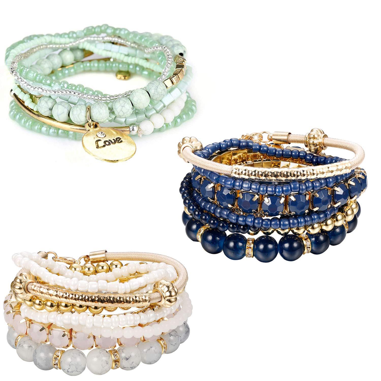 Finrezio 3 Sets Bohemian Beaded Bracelets for Women Multilayer Stretch Stackable Bracelet Set Multicolor Jewelry