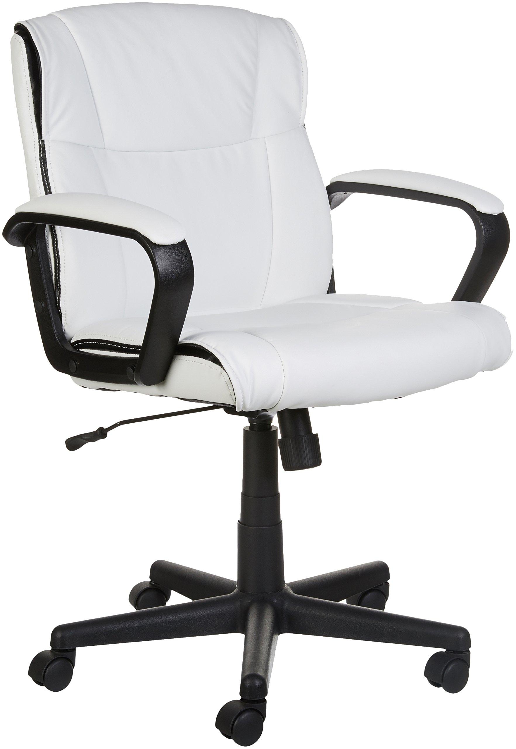 AmazonBasics Classic Leather-Padded Mid-Back Office Chair with Armrest - White by AmazonBasics (Image #2)