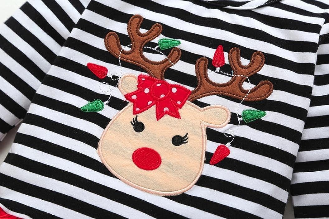 ee37cb865e41 Amazon.com  Esharing Baby Girls Christmas Deer Striped Tops Dress+ ...