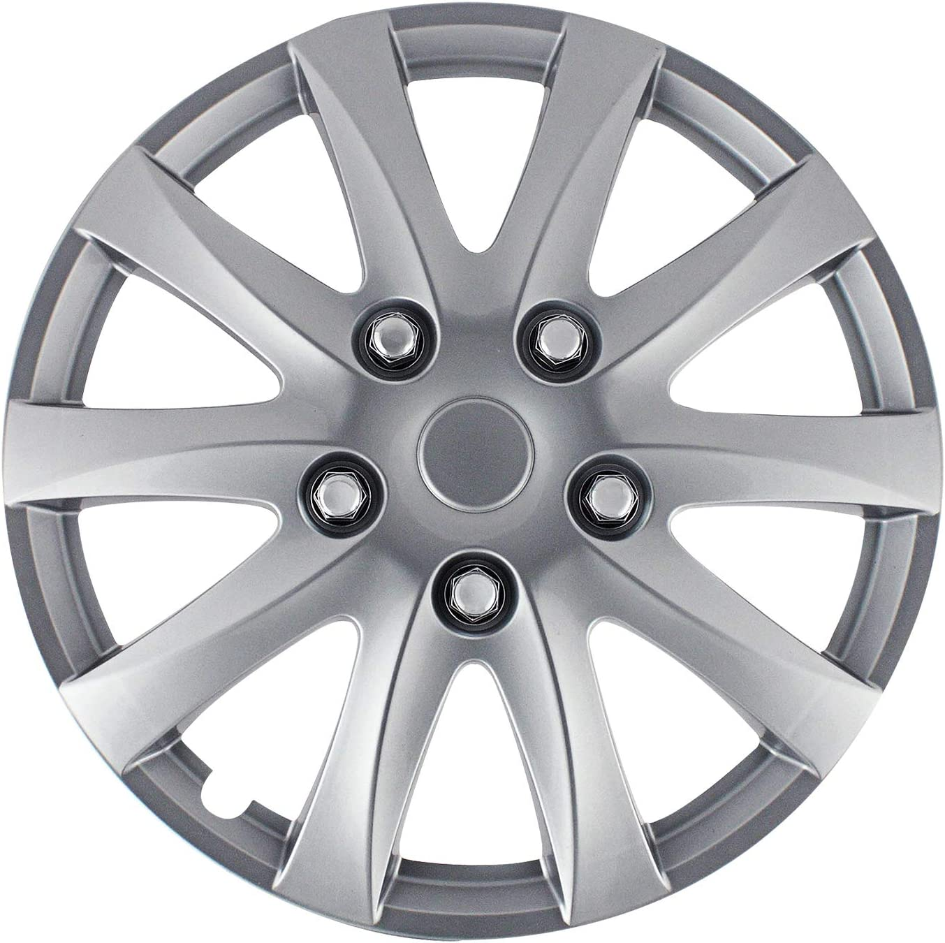 Pilot Automotive WH526-15S-BX Silver Universal Camry Style Wheel Covers Hubcaps 15 inch Replacement Cover (Set of 4) for Stock Rims Fits Cars from Nissan, Honda, Toyota, Ford, Chevy, Mazda and Others