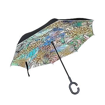 COOSUN - Paraguas invertido con Doble Capa de Fondo de Leopardo para Coche y Exterior,