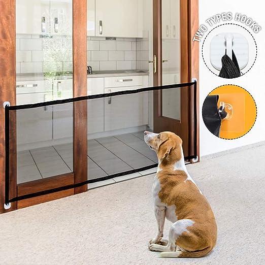 Namsan Magic Gate para puerta de seguridad de perro plegable portátil y puerta de escalera de fácil instalación con extensión de seguridad para perros: Amazon.es: Productos para mascotas