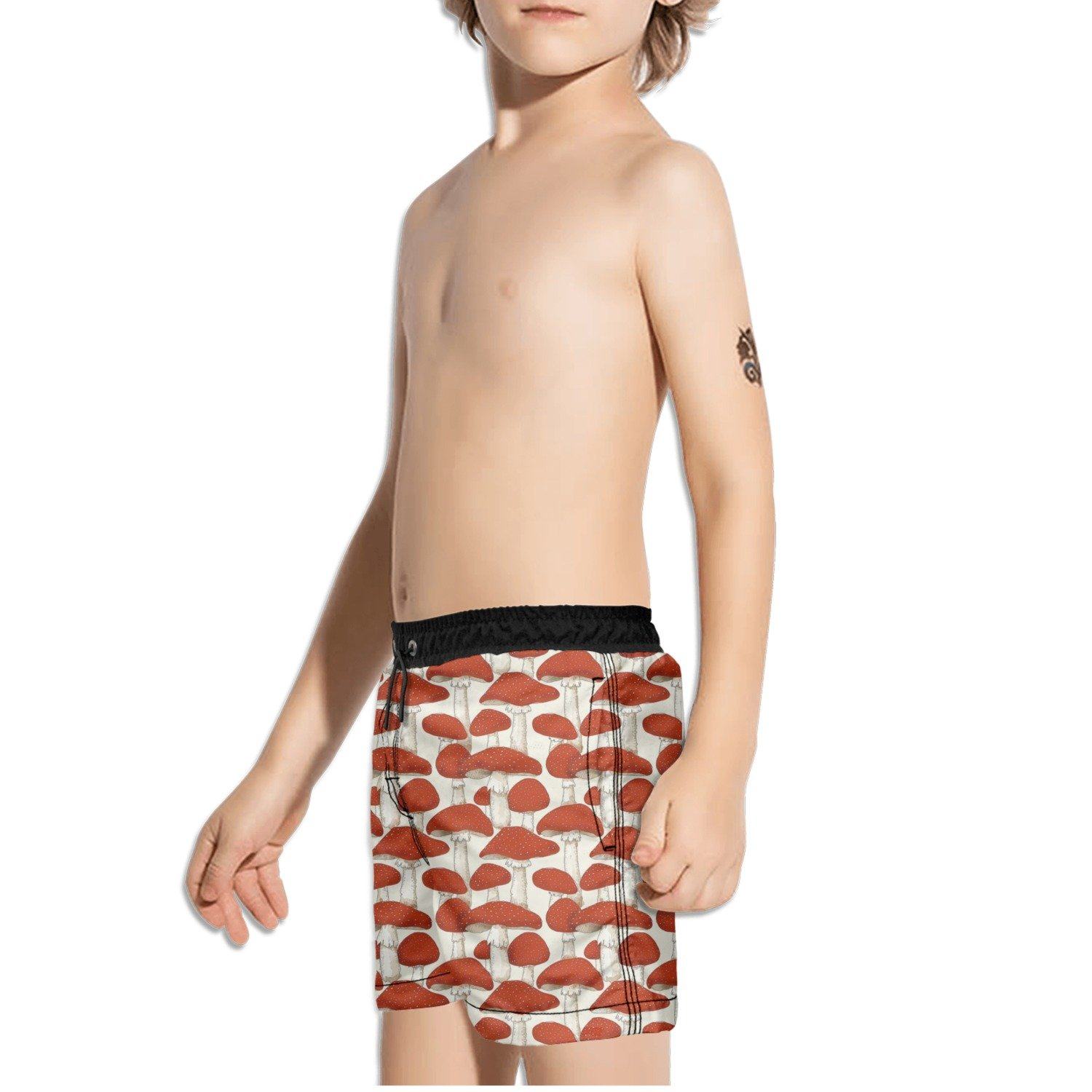 FullBo Red Mushroom Muscaria Mushroom Little Boys Short Swim Trunks Quick Dry Beach Shorts