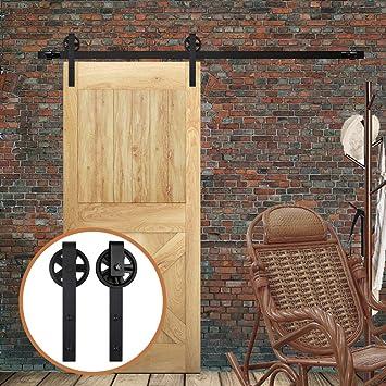 10FT/305cm Herraje para Puerta Corredera Kit de Accesorios para Puertas Correderas,Negro J-Forma Rodillos Grandes: Amazon.es: Bricolaje y herramientas