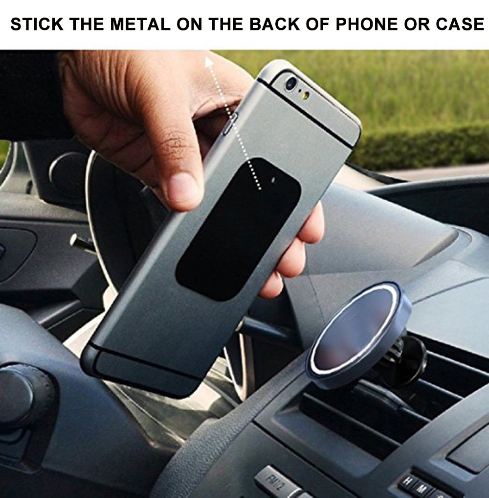 SKYEE 8 Pack Piastrine Metalliche 4 Rettangolari e 4 Tonde Argento 8 Placchetta di Metallo Adesivo Universale placchetta per Supporto Auto Smartphone Magnetico//Calamita Cellulare Auto