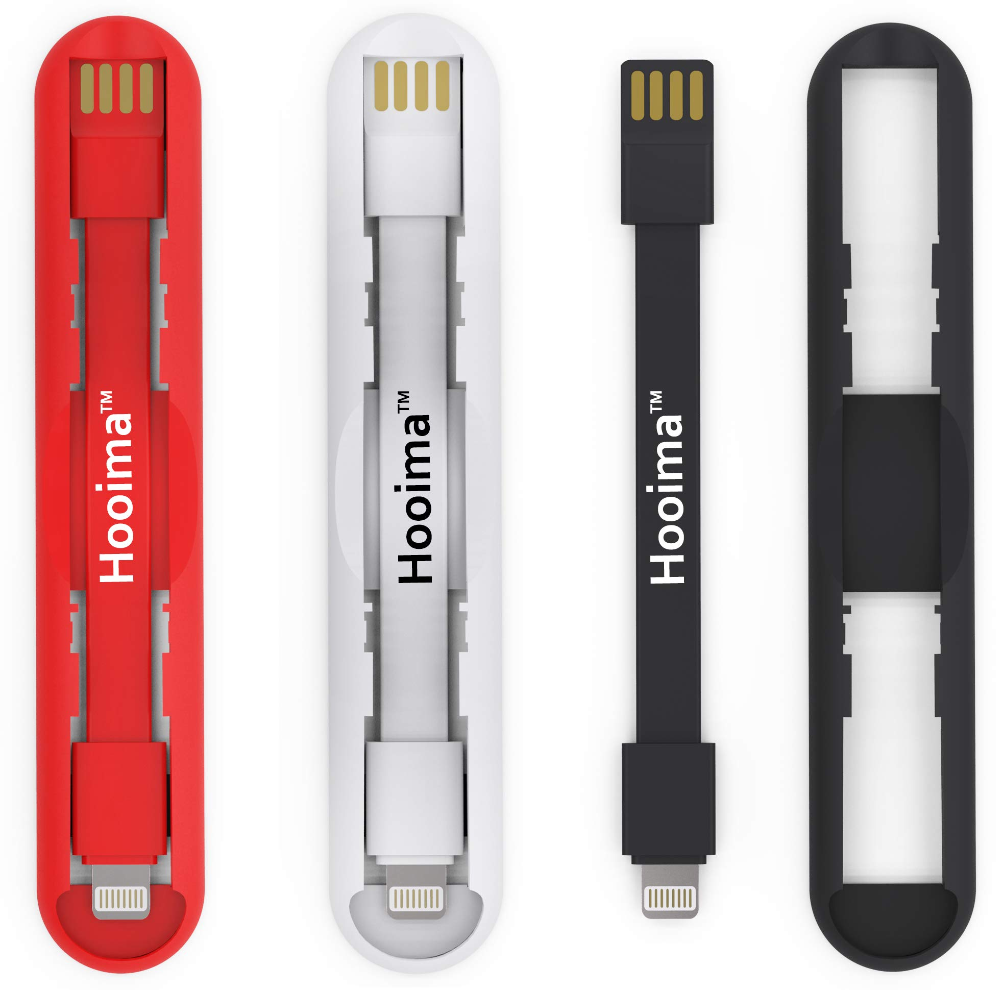 Hooima PowerGrip - Short USB to 8-Pins Cable with a Strong Self-Adhesive - Compatible with iPhone & Apple Devices - Easily Mount to Any Flat Surface - Fast Charging & Data Transfer Pack of 3 Colors