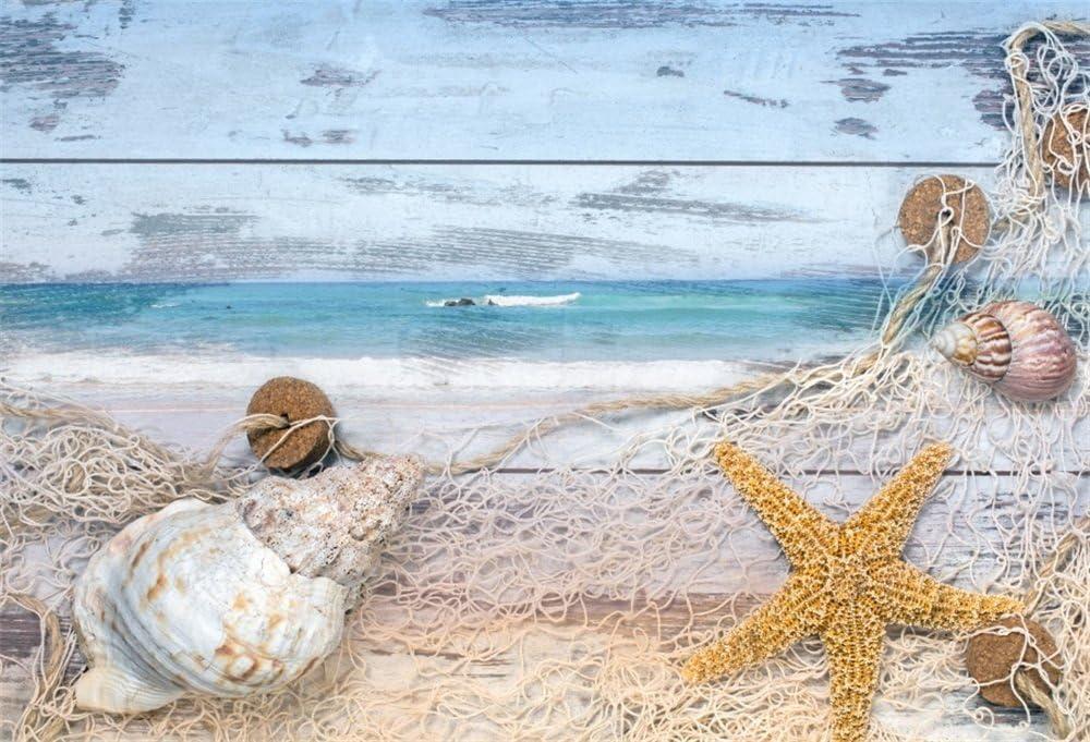 8x8FT Vinyl Backdrop Photographer,Blue and White,Sea Shells Art Photo Backdrop Baby Newborn Photo Studio Props
