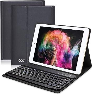 COO Funda con Teclado Español iPad 2018/2017, 9.7 Funda Ultraliviano con Teclado Bluetooth Inalámbrico para iPad Air 2/1, iPad 2018, iPad 2017, iPad ...