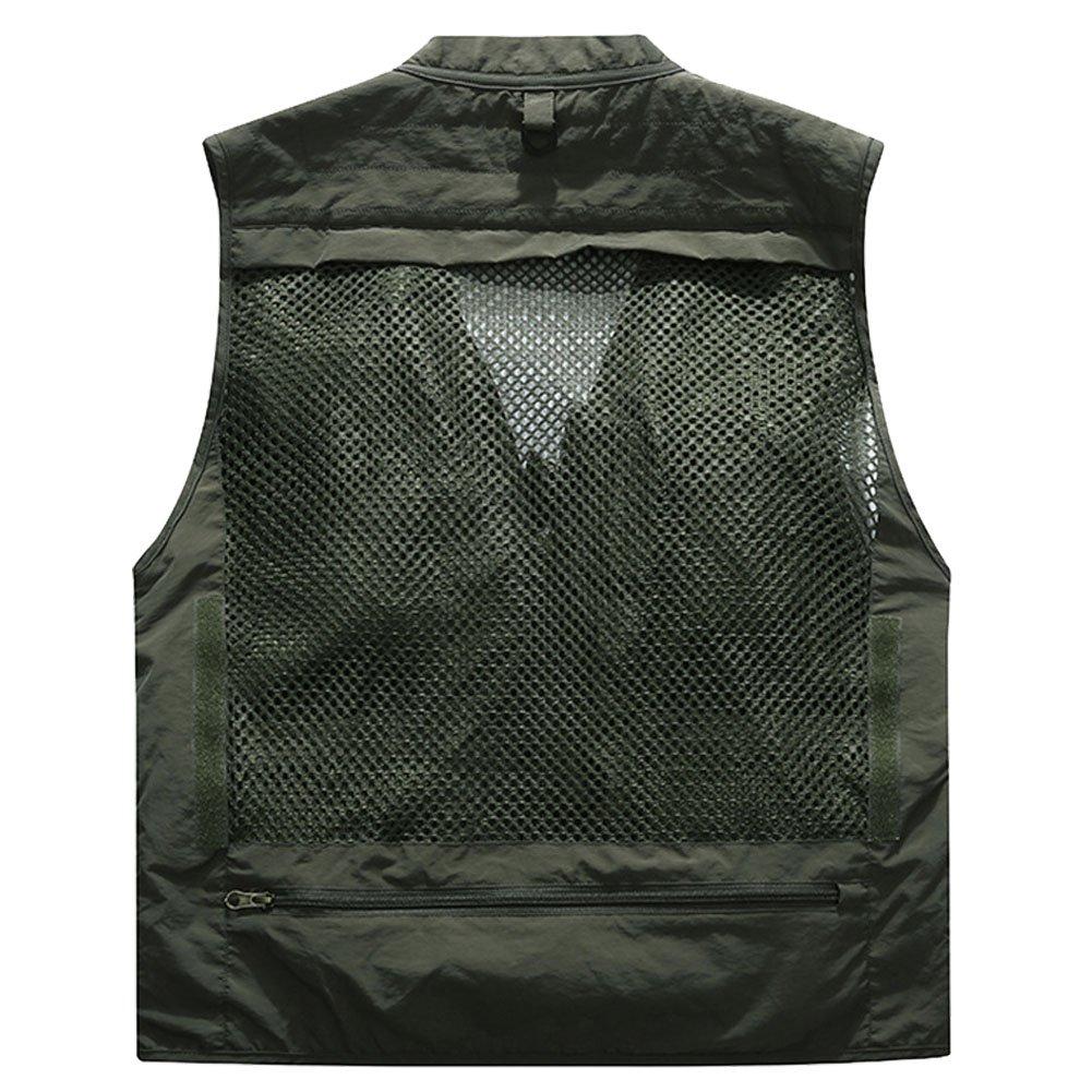 Jessie Kidden da uomo ad asciugatura rapida gilet maglia gilet pesca fotografia giacca gilet di lavoro multi-tasche outdoors giornalista # 171262 Army Green UK M Tag XL
