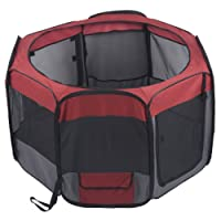 Favorite Parque de juego y entrenamiento portátil para mascotas, 1.22 m x 69 cm, tela 600D Oxford impermeable y malla para ventilación, incluye bolsa de transporte