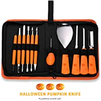 Pumpkin Carving Kit 11 Piece Professional Pumpkin Carving Tools Set Sculpting Knifes Halloween Jack-O-Lanterns Heavy Duty Stainless Steel Tools for Halloween Decor with Case