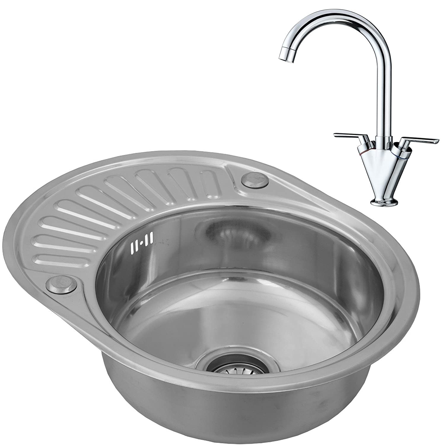 enki pact single bowl inset round stainless steel kitchen sink
