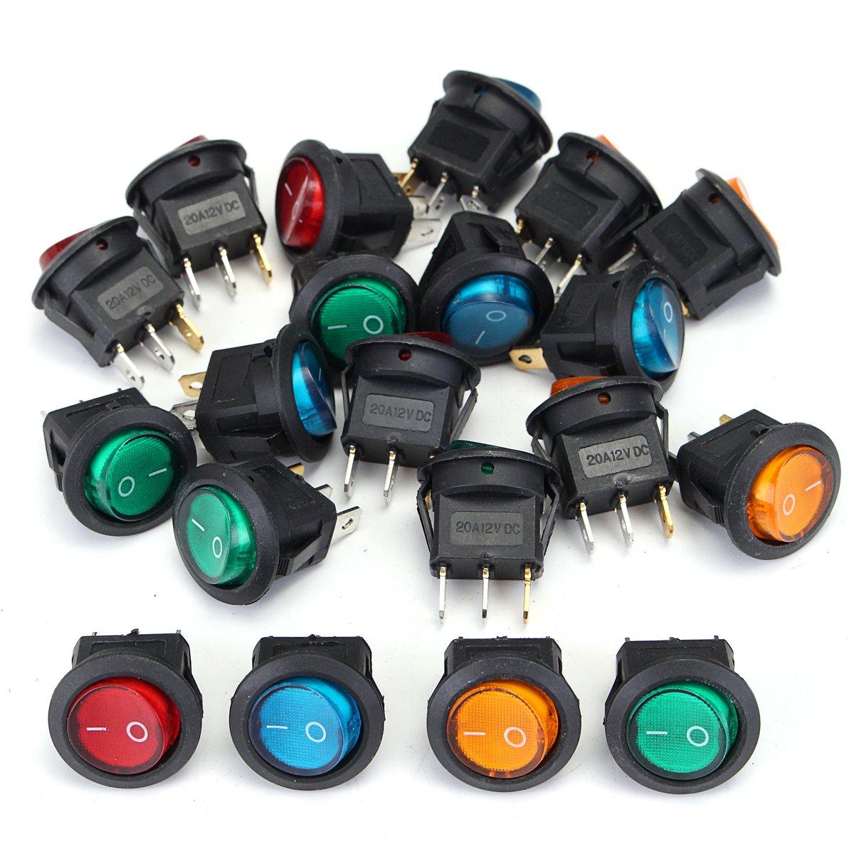 Red illuminated Dot Round Rocker Switch Automotive 12V SPST