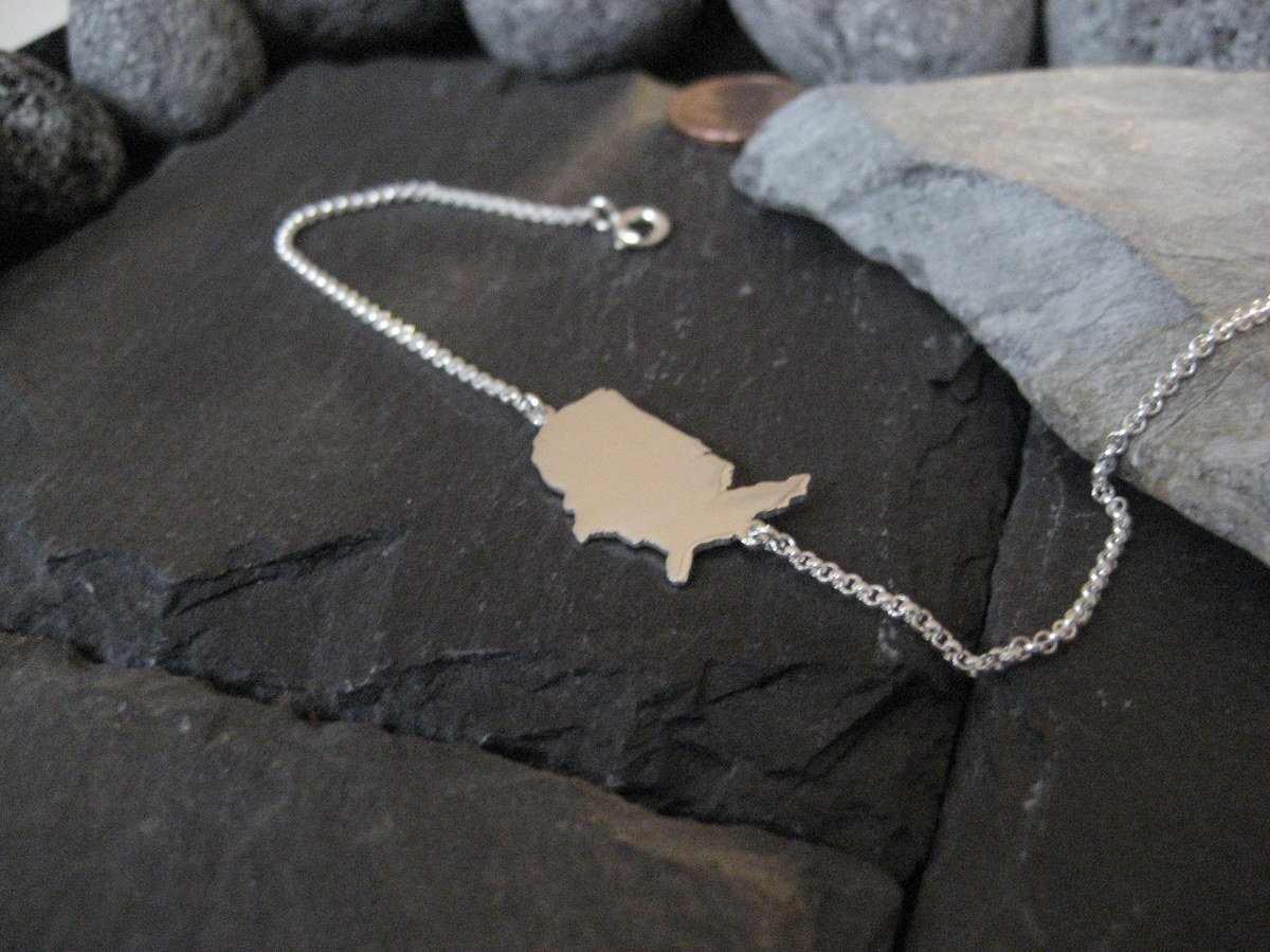 NEU LK12-USA USA Landkarte Armband in 925er Silber