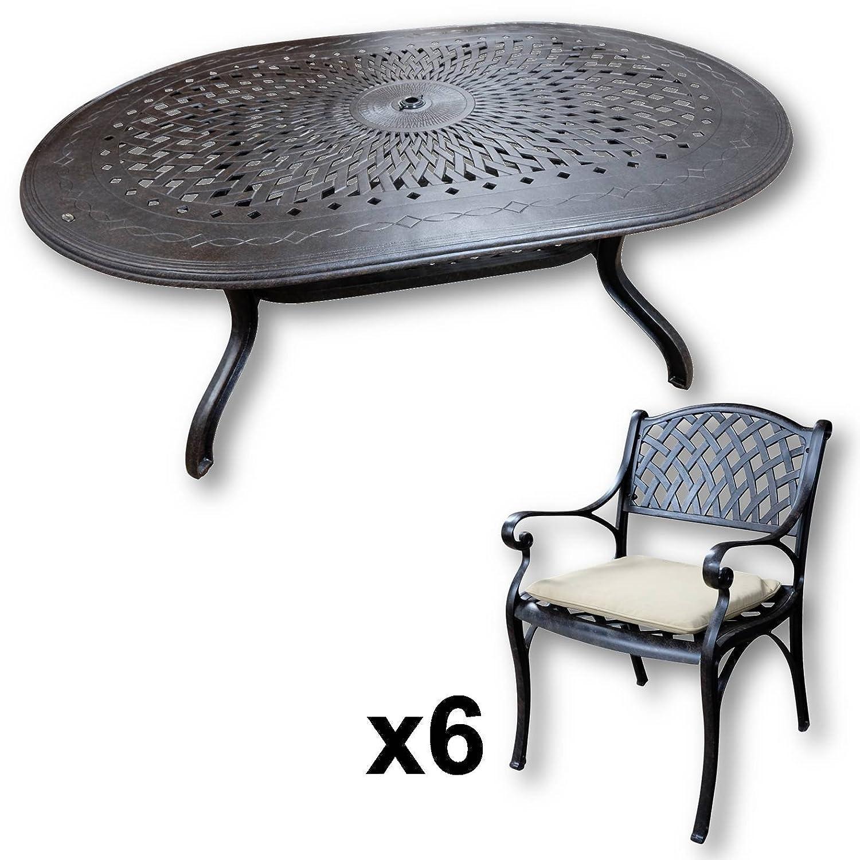 Lazy Susan - JESSICA 180 x 115 cm Ovaler Gartentisch mit 6 Stühlen ...