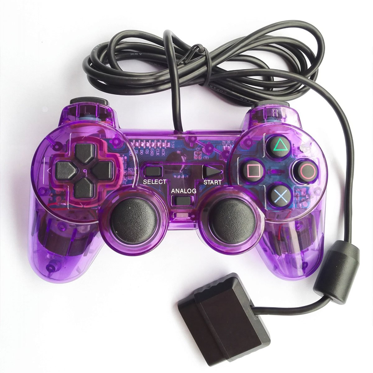 Bowink Wired Gaming Controller for Ps2 Double Shock (Blue+Purple)