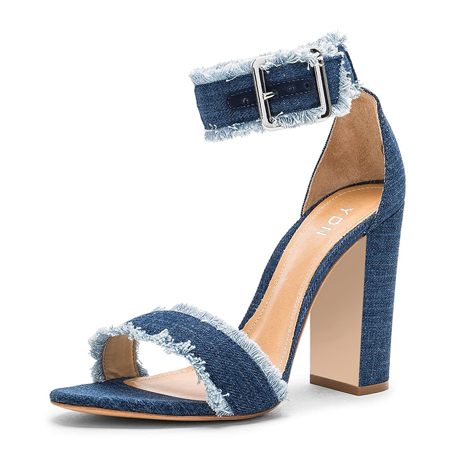 e4c45231 YDN Retro Chunky Heel Jeans Sandals Open Toe Ankle Straps Block Shoes for  Women durable service