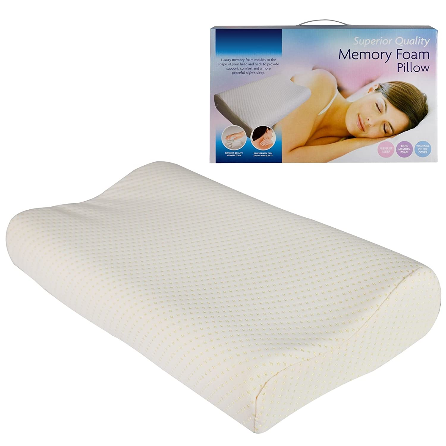 2 x Contour Memory Foam Bamboo Pillow Head Neck Firm Support Orthopaedic