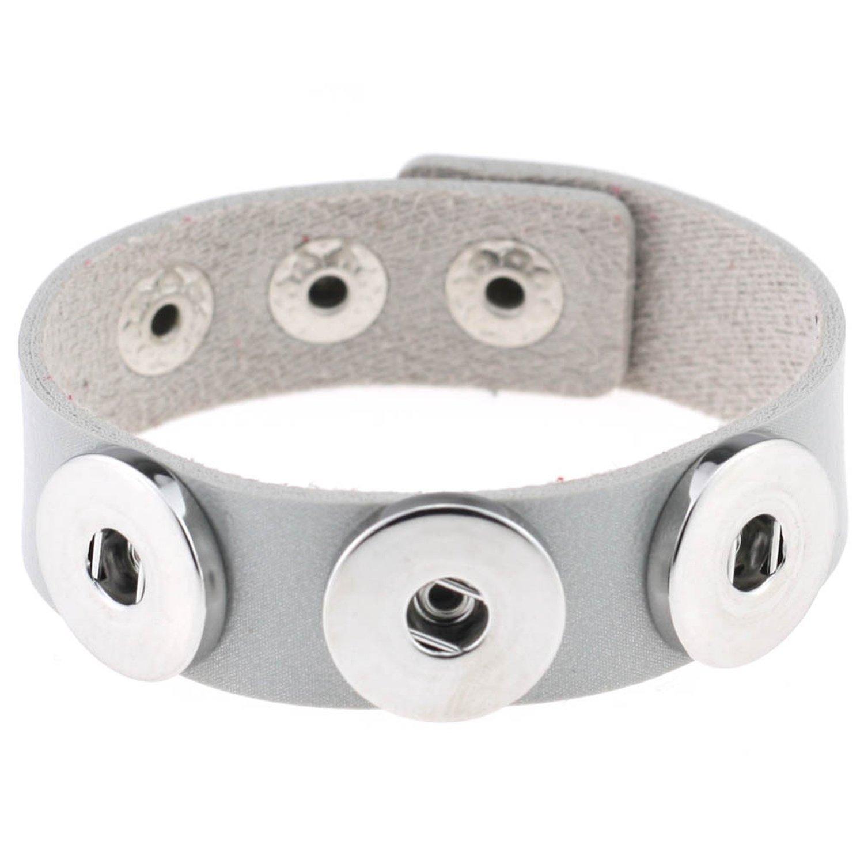 fashion DIY button bracelet PU leather noosa snap button bracelet bracelet manufacturers wholesale,gray
