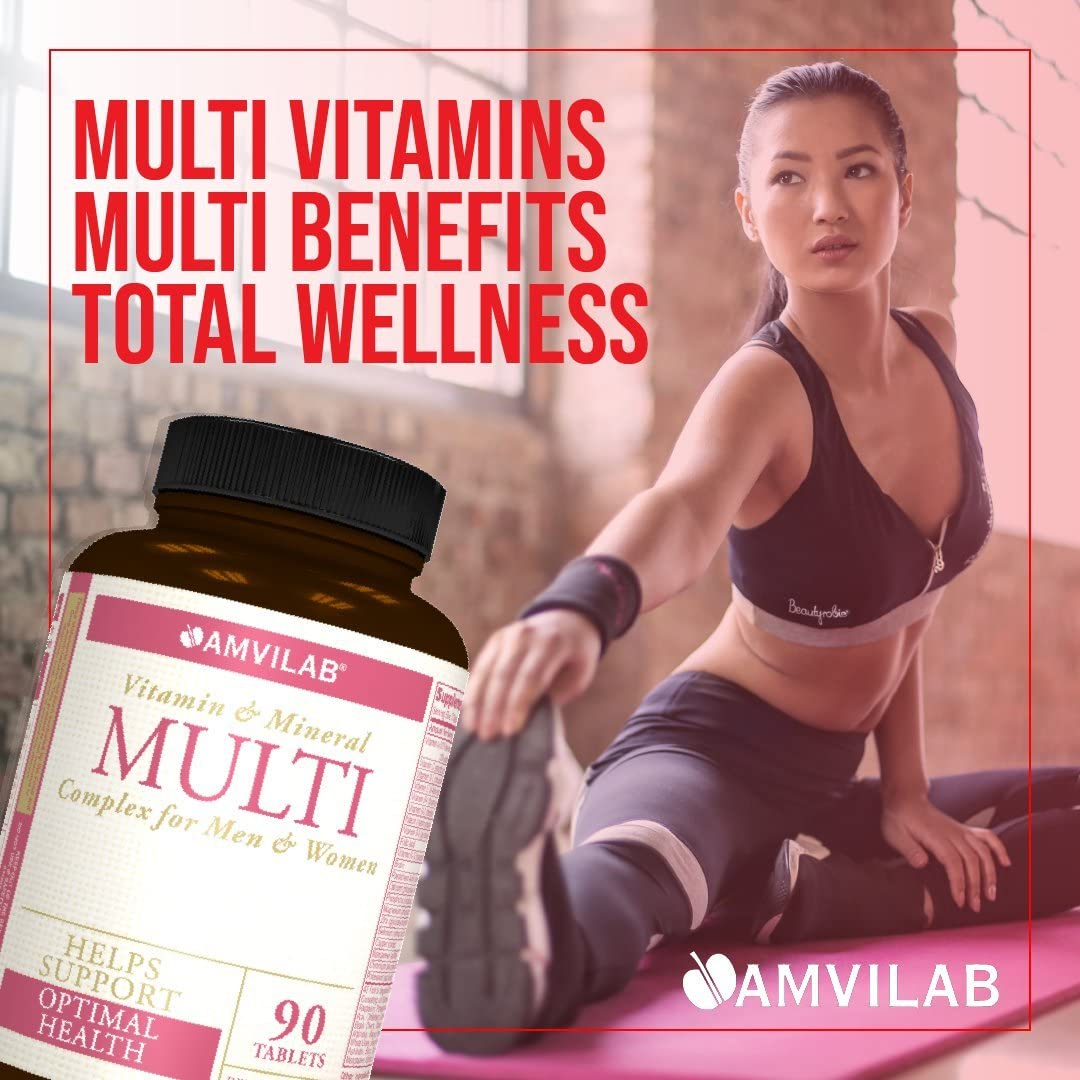 Amvilab Multi - Daily Multivitamin Complex for Women and Man, with All Essential Vitamins, Herbal Ingredients, Mineral, Enzymes & Probiotic. One Month Supply.