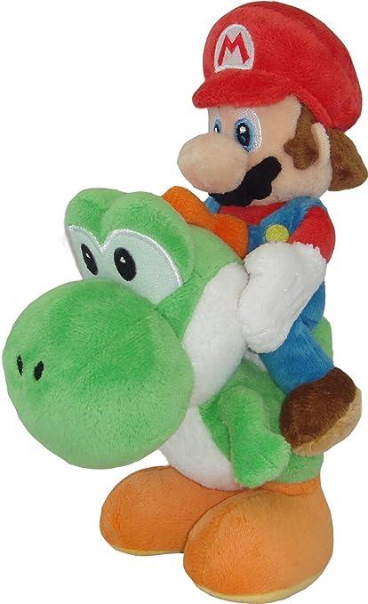 "Sanei Super Mario Plush Series Plush Doll: 8"" Mario and Yoshi Plush Japanese Import"