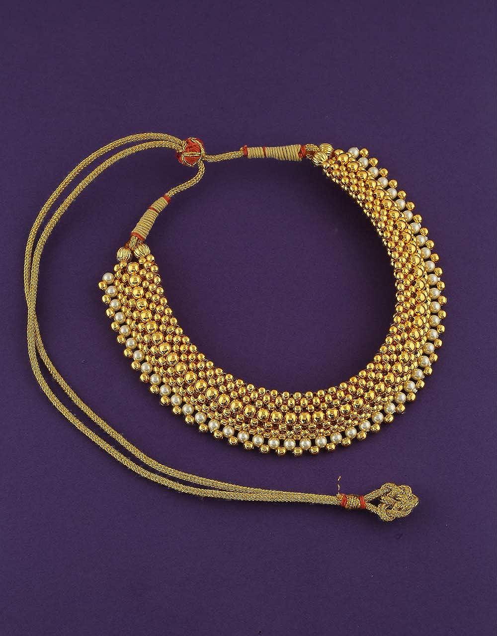 Anuradha Art Golden Colour Adorable Thushi Neckalce for Women//Girls
