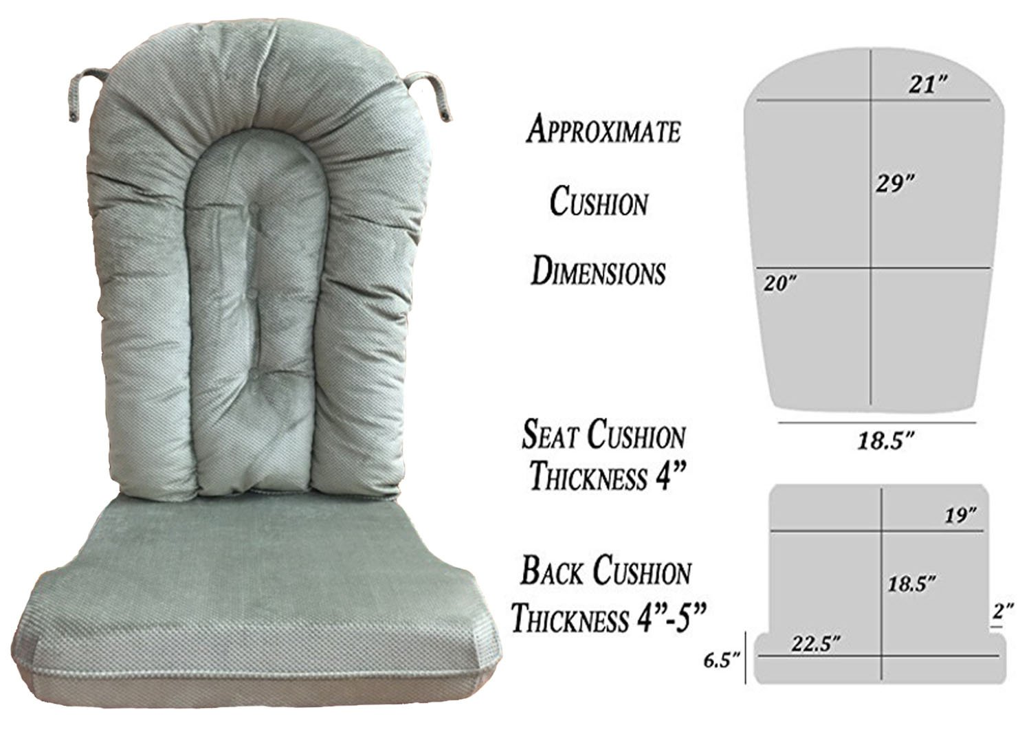 Glider Rocker Replacement Cushion Set, Sage Micro Denier Fabric by Replacement Cushion Set