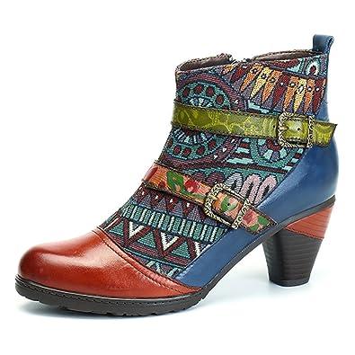 932c4f87c17 socofy Block Heel Ankle Booties,Women's Bohemian Splicing Pattern Side  Zipper High Block Heel Ankle Leather Boots