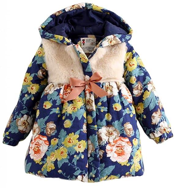 Amazon.com: Bebé Niñas Floral impresión chamarra de invierno ...