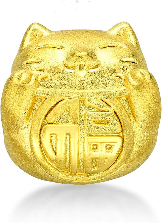 CHOW TAI FOOK 999 Pure 24K Gold Maneki-Neko Fortune Cat Charm