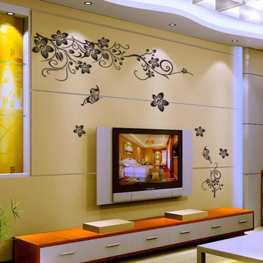 Neartime Decor,Hee Grand Removable Vinyl Wall Sticker Mural Decal Art - Flowers and Vine (50CM×70CM, Black)