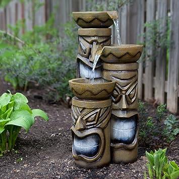 Amazon.com : Alpine Island Tiki Indoor/Outdoor Fountain With ...