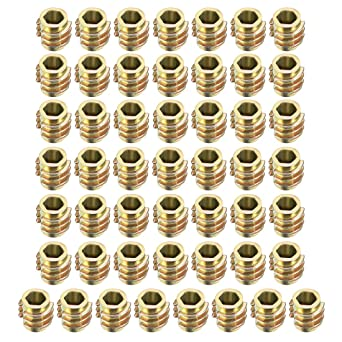 50pcs M6x10mm Threaded Insert Nuts Zinc Alloy Hexagonal M6 Internal Threads 10mm Length