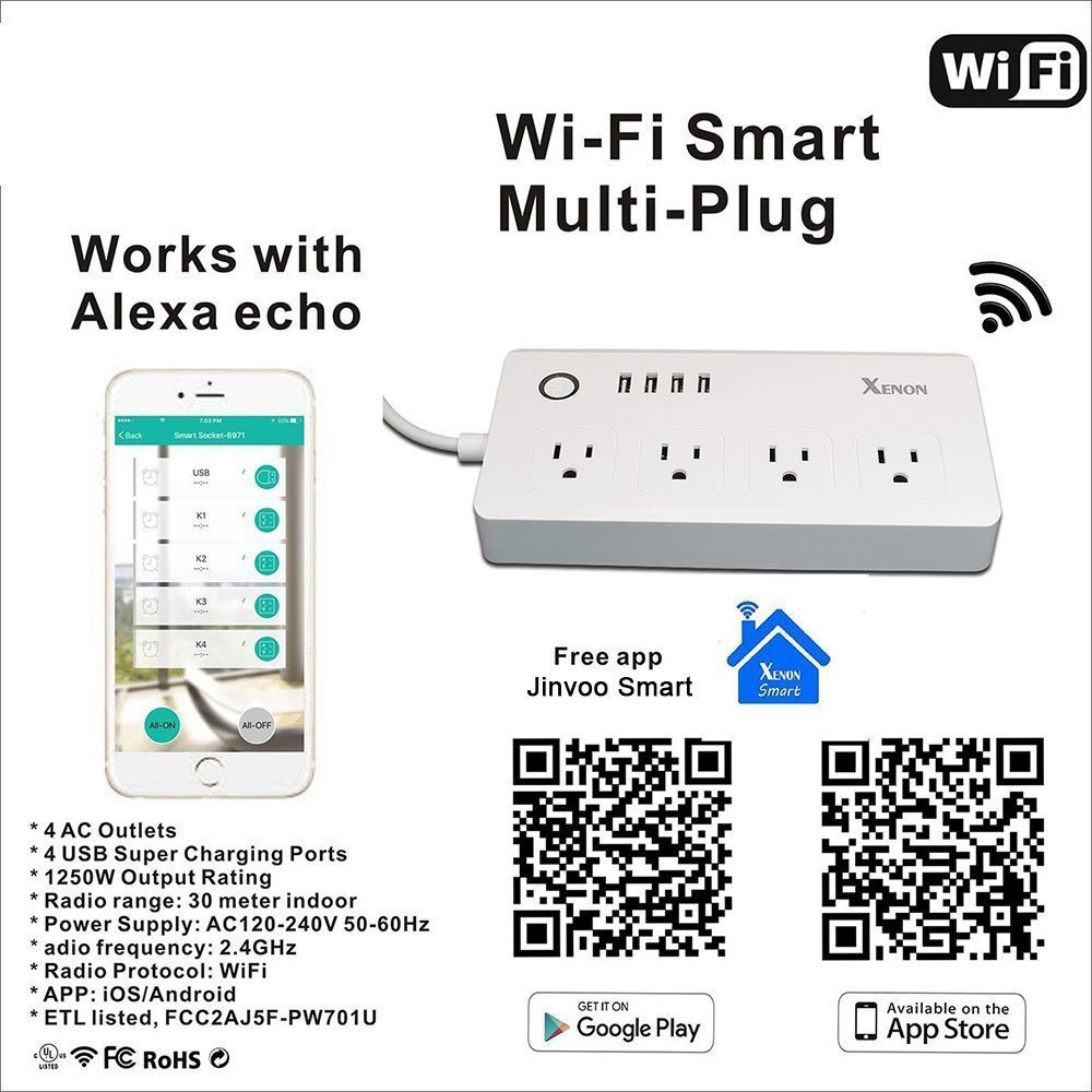 Power Strip Socket DIWUER WiFi Smart Multi Outlets with 4 Plug 4 USB Ports Work with Amazon Alexa Surge Protector Timer Remote Control by iPhone and Android Phone by DIWUER (Image #4)