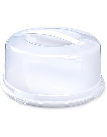 Tarrina de plástico redonda con asa para mantener los pasteles frescos (color crema