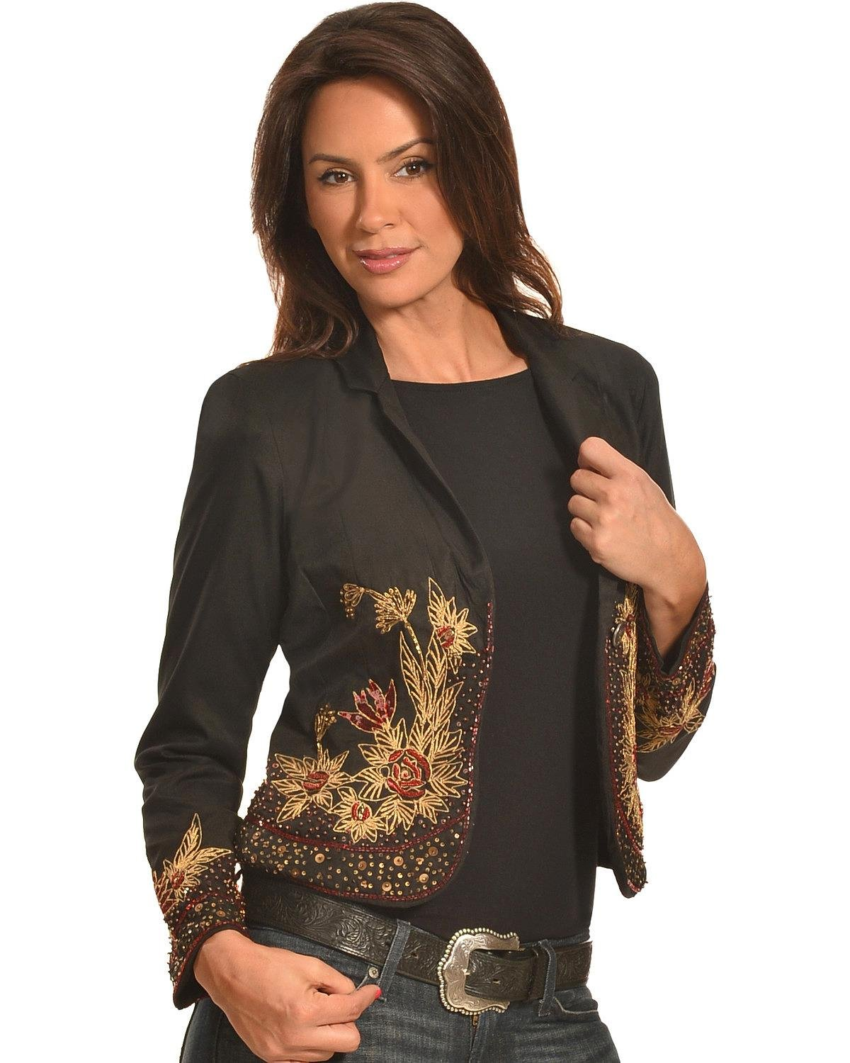 Pink Cattlelac Women's Beaded And Embroidered Blazer Black Medium