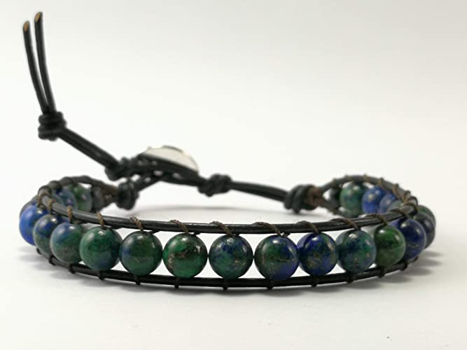 6670d3f2a4690 Azurite Malachite Beaded Single Wrap Leather Bracelet - Size 6.5-7.5  inches,WAM