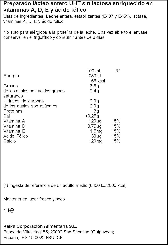 Kaiku Leche sin Lactosa Entera, 1L: Amazon.es: Alimentación y ...