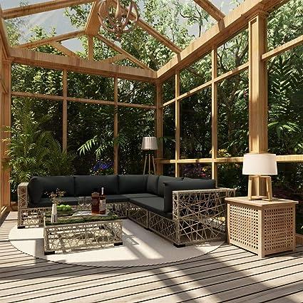 UnfadeMemory Set de Sofás de Jardín con Cojines y Diseño de ...