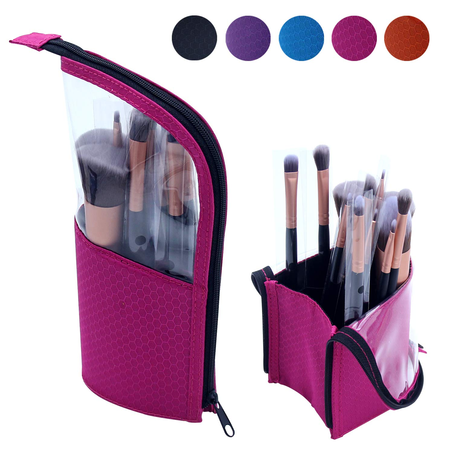 Portable Makeup Brush Holder, Small Clear Makeup Brush Bag Makeup Brush Organizer Waterproof Makeup Bag Makeup Brush Carrying Pencil Case FUS
