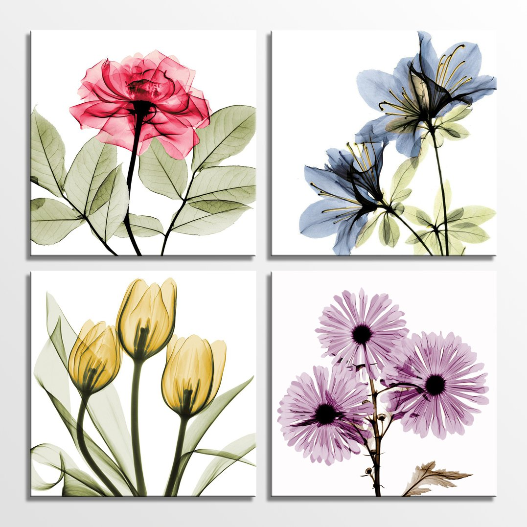 Hlj tulip rose wall art painting in golden red vivid flower home wall floral canvas print in 4 panels colorful 12x12inchesx4pcs 30x30cmx4pcs