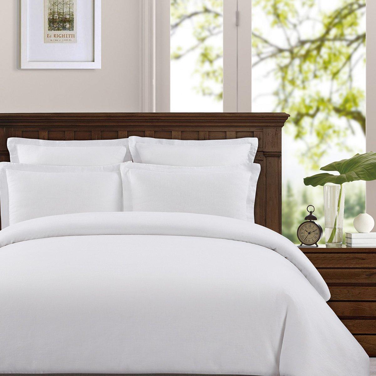 Echelon Home Washed Belgian Linen Duvet Cover Set, King, Eggshell White
