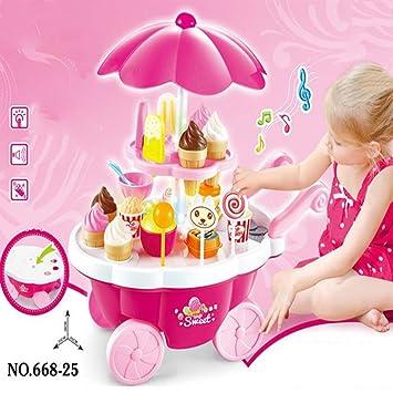 BEETEST Cocina infantil de juguete Set niños bebés miniatura dulce de caramelo de hielo crema carrito tienda juguete educativo luz y música Rosa: Amazon.es: ...