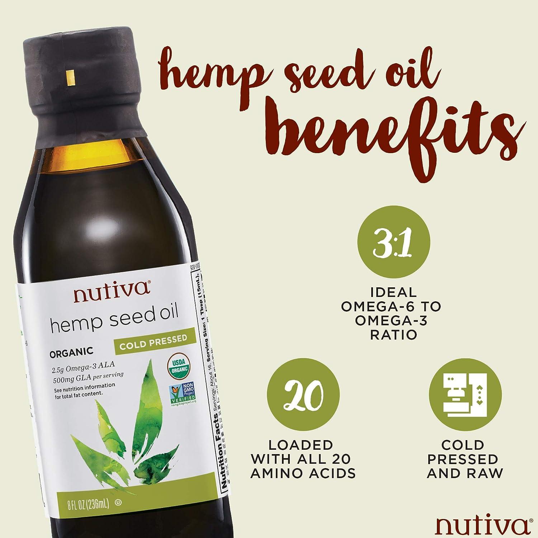 Nutiva Organic, Cold-Pressed, Unrefined Hemp Seed Oil from non-GMO,  Sustainably Farmed Canadian Hemp,