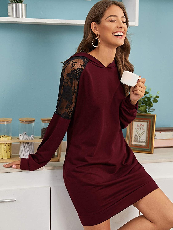 SweatyRocks Womens Lace Long Sleeve Long Tunic Sweatshirt Hooded Dress