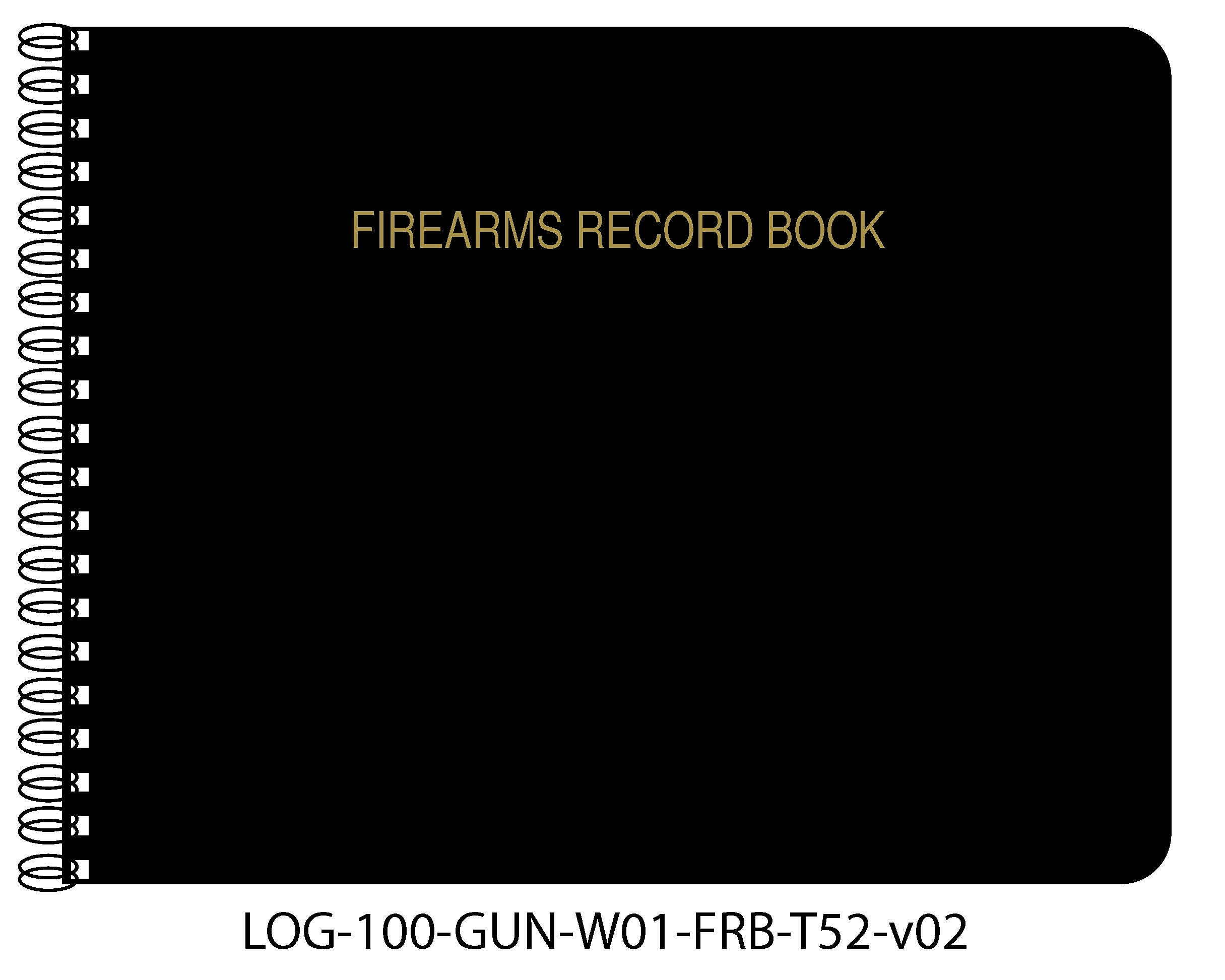 BookFactory Firearms Record Book / Gun Log Book - 100 Pages, Black TransLux Cover - Wire-O, 11'' x 8 1/2'' (LOG-100-GUN-W01-FRB-T52)