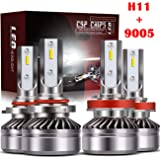 TURBO SII 9005/HB3 High Beam H11/H8/H9 Low Beam Led Headlight bulbs Combo Conversion Kits DOT Approved D6 Series CSP Chips, 6000K Cool White (4Pack,2 sets,Silver)
