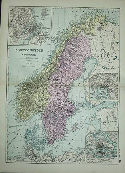 Bacon world atlas 1891 map norway sweden denmark plan amazon bacon world atlas 1891 map norway sweden denmark plan gumiabroncs Images
